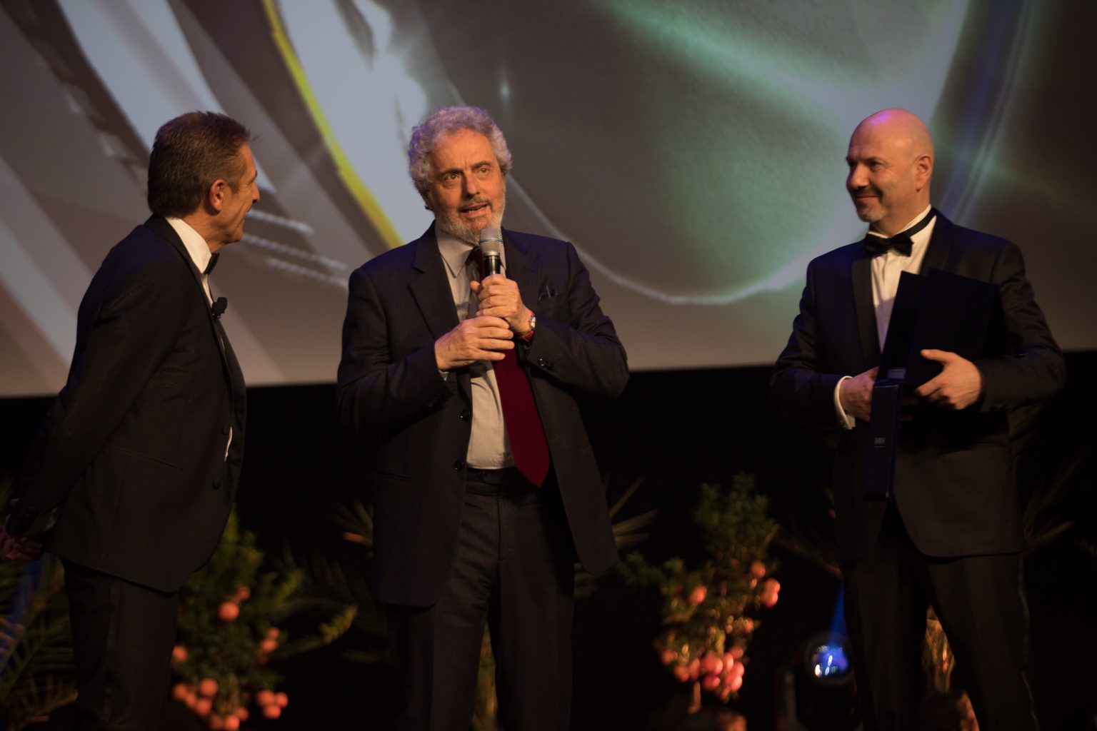 Ezio con Nicola Piovani e S.E. Laurent Anselmi Ministro di Monaco