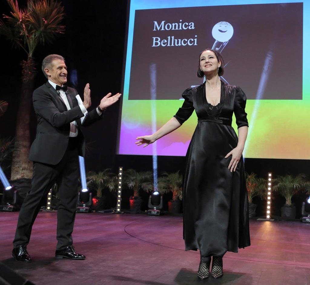 Ezio Greggio con Monica Bellucci
