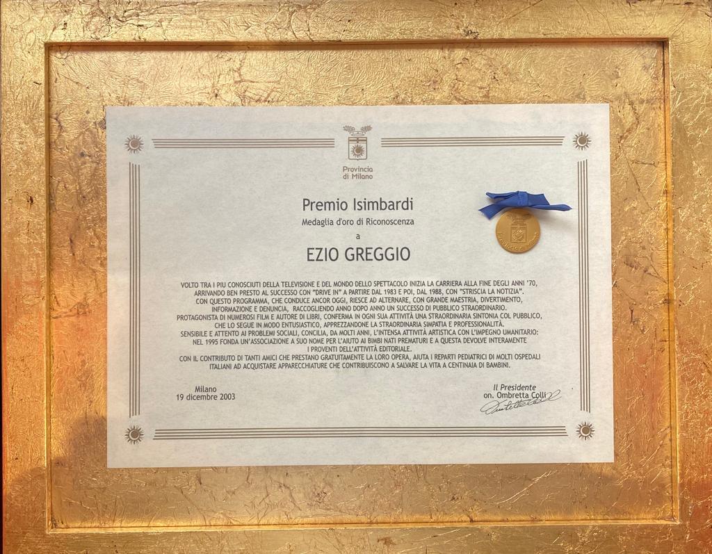 Premio Isimbardi Medaglia d'Oro Provincia di Milano, 17 dicembre 2003