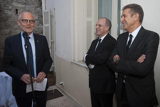 Ex Ambasciatore Massimo Lavezzo con Il Ministro di stato Serge Telle e Ezio Greggio